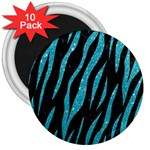 SKIN3 BLACK MARBLE & TURQUOISE GLITTER (R) 3  Magnets (10 pack)  Front