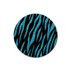 Skin3 Black Marble & Turquoise Glitter (r) Rubber Coaster (round)  by trendistuff