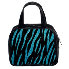 Skin3 Black Marble & Turquoise Glitter (r) Classic Handbags (2 Sides) by trendistuff