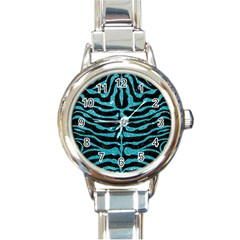Skin2 Black Marble & Turquoise Glitter (r) Round Italian Charm Watch by trendistuff