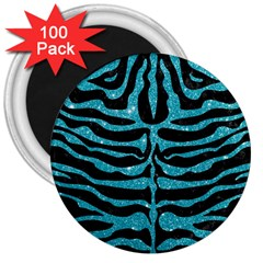 Skin2 Black Marble & Turquoise Glitter (r) 3  Magnets (100 Pack) by trendistuff