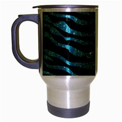 Skin2 Black Marble & Turquoise Glitter (r) Travel Mug (silver Gray) by trendistuff