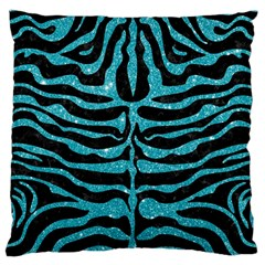 Skin2 Black Marble & Turquoise Glitter (r) Large Flano Cushion Case (one Side) by trendistuff