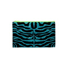 Skin2 Black Marble & Turquoise Glitter (r) Cosmetic Bag (xs) by trendistuff