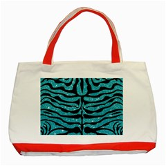 Skin2 Black Marble & Turquoise Glitter Classic Tote Bag (red) by trendistuff