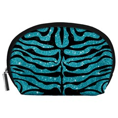 Skin2 Black Marble & Turquoise Glitter Accessory Pouches (large)  by trendistuff