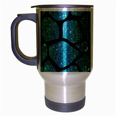 Skin1 Black Marble & Turquoise Glitter (r) Travel Mug (silver Gray) by trendistuff