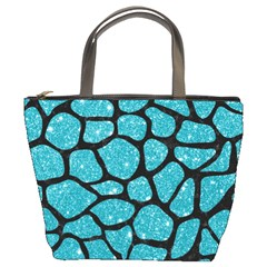 Skin1 Black Marble & Turquoise Glitter (r) Bucket Bags by trendistuff