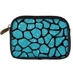 Skin1 Black Marble & Turquoise Glitter (r) Digital Camera Cases by trendistuff