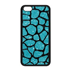 Skin1 Black Marble & Turquoise Glitter (r) Apple Iphone 5c Seamless Case (black) by trendistuff