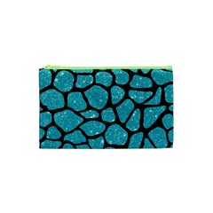 Skin1 Black Marble & Turquoise Glitter (r) Cosmetic Bag (xs) by trendistuff