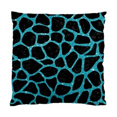 Skin1 Black Marble & Turquoise Glitter Standard Cushion Case (one Side) by trendistuff