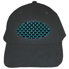 Scales3 Black Marble & Turquoise Glitter (r) Black Cap by trendistuff