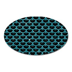Scales3 Black Marble & Turquoise Glitter (r) Oval Magnet by trendistuff