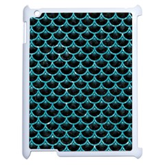 Scales3 Black Marble & Turquoise Glitter (r) Apple Ipad 2 Case (white) by trendistuff