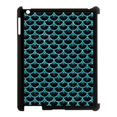 Scales3 Black Marble & Turquoise Glitter (r) Apple Ipad 3/4 Case (black) by trendistuff