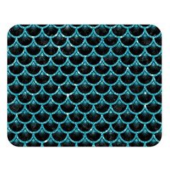 Scales3 Black Marble & Turquoise Glitter (r) Double Sided Flano Blanket (large)  by trendistuff
