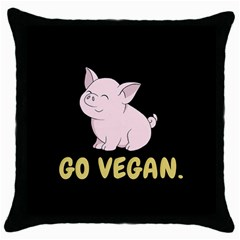 Go Vegan   Cute Pig Throw Pillow Case (black) by Valentinaart