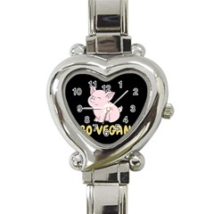 Go Vegan   Cute Pig Heart Italian Charm Watch by Valentinaart