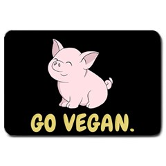 Go Vegan   Cute Pig Large Doormat  by Valentinaart