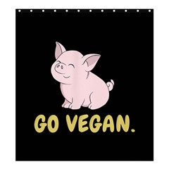 Go Vegan   Cute Pig Shower Curtain 66  X 72  (large)  by Valentinaart