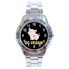 Go Vegan   Cute Pig Stainless Steel Analogue Watch by Valentinaart
