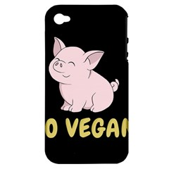 Go Vegan   Cute Pig Apple Iphone 4/4s Hardshell Case (pc+silicone) by Valentinaart