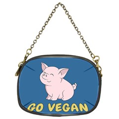 Go Vegan   Cute Pig Chain Purses (two Sides)  by Valentinaart