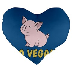 Go Vegan   Cute Pig Large 19  Premium Heart Shape Cushions by Valentinaart