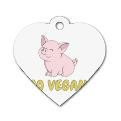 Go Vegan   Cute Pig Dog Tag Heart (one Side) by Valentinaart