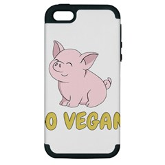 Go Vegan   Cute Pig Apple Iphone 5 Hardshell Case (pc+silicone) by Valentinaart