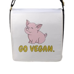 Go Vegan   Cute Pig Flap Messenger Bag (l)  by Valentinaart