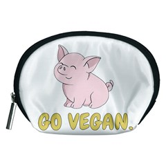 Go Vegan   Cute Pig Accessory Pouches (medium)  by Valentinaart