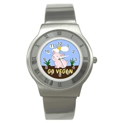 Go Vegan   Cute Pig Stainless Steel Watch