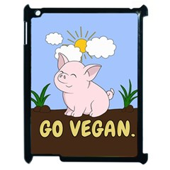 Go Vegan   Cute Pig Apple Ipad 2 Case (black) by Valentinaart
