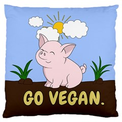 Go Vegan   Cute Pig Large Cushion Case (two Sides) by Valentinaart
