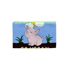 Go Vegan - Cute Pig Cosmetic Bag (xs) by Valentinaart
