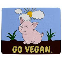 Go Vegan   Cute Pig Jigsaw Puzzle Photo Stand (rectangular) by Valentinaart