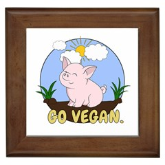Go Vegan   Cute Pig Framed Tiles by Valentinaart