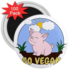 Go Vegan   Cute Pig 3  Magnets (100 Pack) by Valentinaart