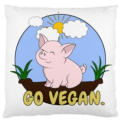 Go Vegan   Cute Pig Large Cushion Case (one Side) by Valentinaart