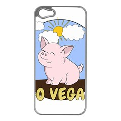 Go Vegan   Cute Pig Apple Iphone 5 Case (silver) by Valentinaart