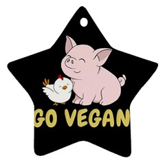 Go Vegan   Cute Pig And Chicken Ornament (star) by Valentinaart