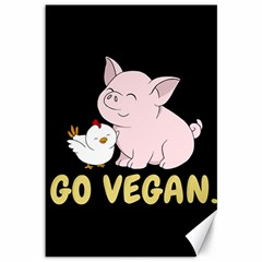 Go Vegan   Cute Pig And Chicken Canvas 12  X 18
