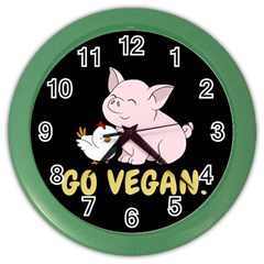 Go Vegan - Cute Pig And Chicken Color Wall Clocks by Valentinaart
