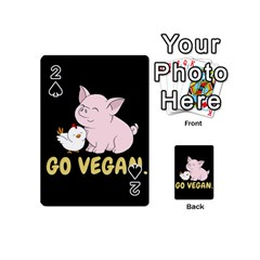 Go Vegan   Cute Pig And Chicken Playing Cards 54 (mini)  by Valentinaart