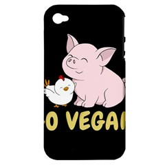 Go Vegan   Cute Pig And Chicken Apple Iphone 4/4s Hardshell Case (pc+silicone) by Valentinaart