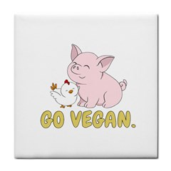 Go Vegan   Cute Pig And Chicken Tile Coasters by Valentinaart