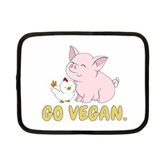 Go Vegan   Cute Pig And Chicken Netbook Case (small)  by Valentinaart