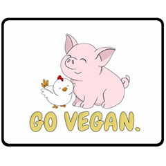 Go Vegan   Cute Pig And Chicken Fleece Blanket (medium)  by Valentinaart